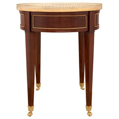 French 18th Century Louis XVI Style Mahogany and Carrara Marble Side Table