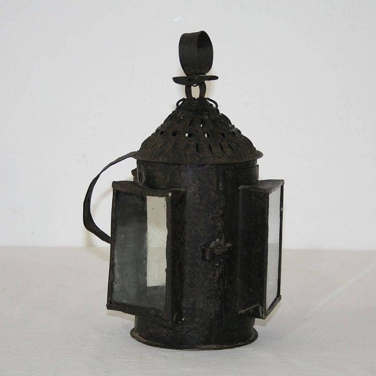 Folk Art French 18th Century Metal Lantern For Sale