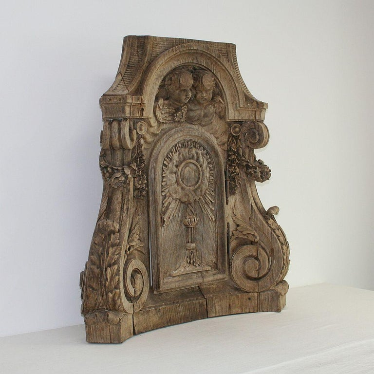 Hand-Carved French 18th Century Oak Baroque Tabernacle Front For Sale