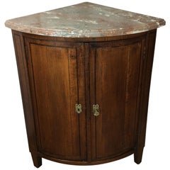 18th Century French Oak Corner Cabinet with Marble Top