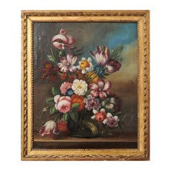 French 18th Century Oil on Canvas Floral Painting in the Dutch School Style