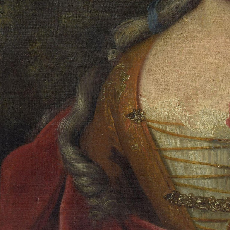 French 18th Century Oil Painting of a Lady For Sale 3