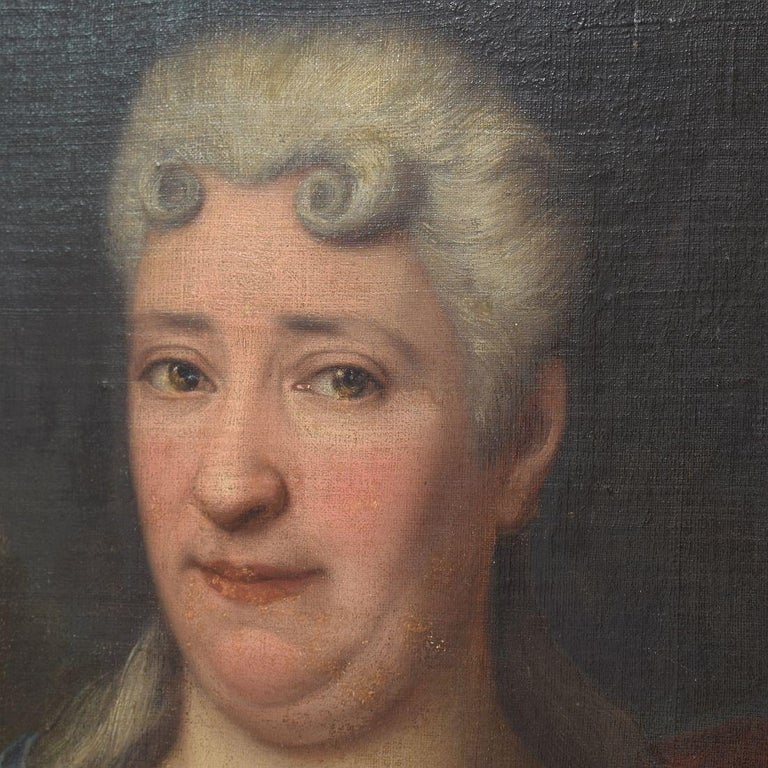 French 18th Century Oil Painting of a Lady For Sale 5
