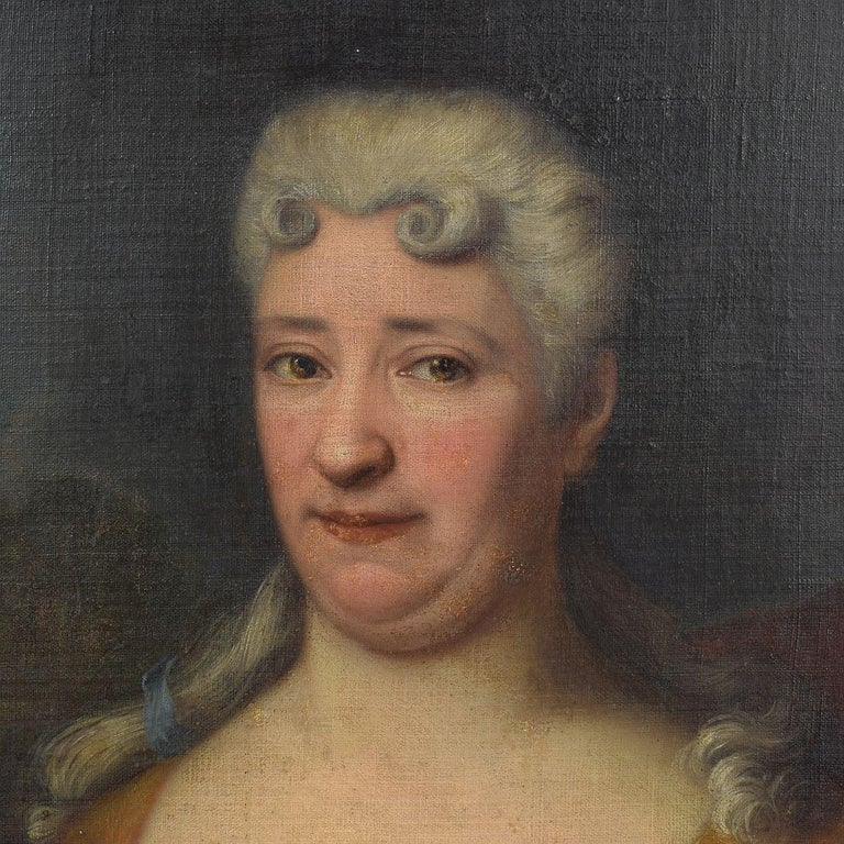 Beautiful portrait of a lady. Oil paint on canvas. Very well painted, please take a look at the detail photo's.