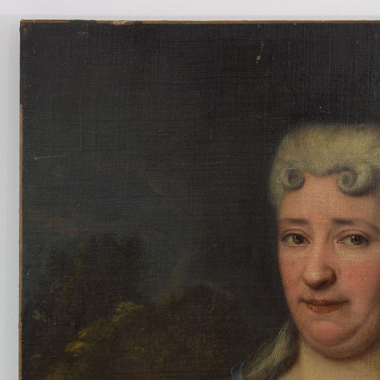Baroque French 18th Century Oil Painting of a Lady For Sale