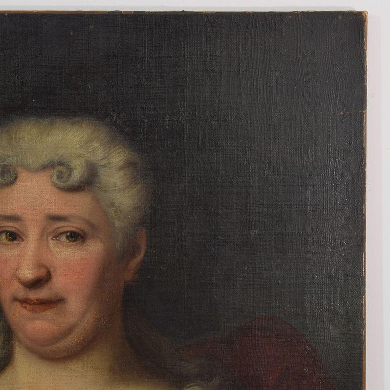 Hand-Painted French 18th Century Oil Painting of a Lady For Sale