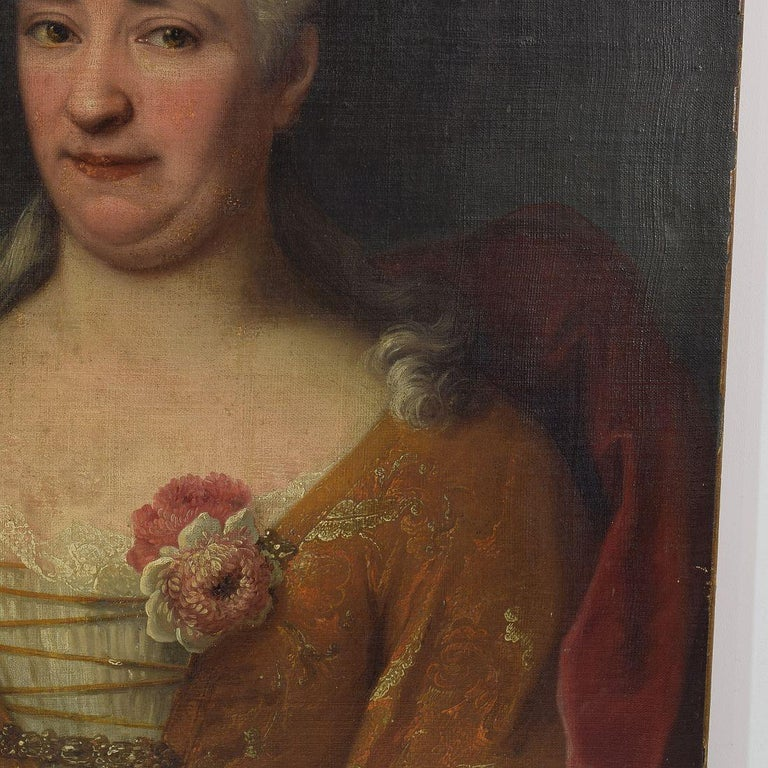 18th Century and Earlier French 18th Century Oil Painting of a Lady For Sale