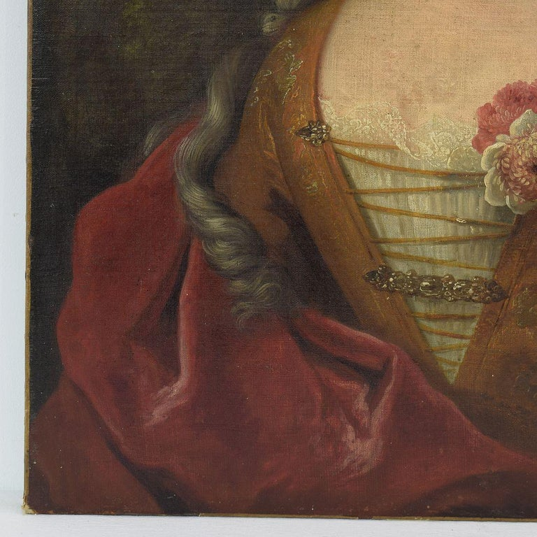 Canvas French 18th Century Oil Painting of a Lady For Sale