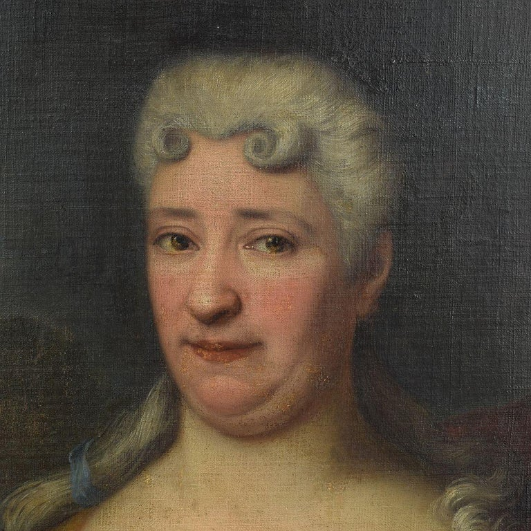 French 18th Century Oil Painting of a Lady For Sale 2