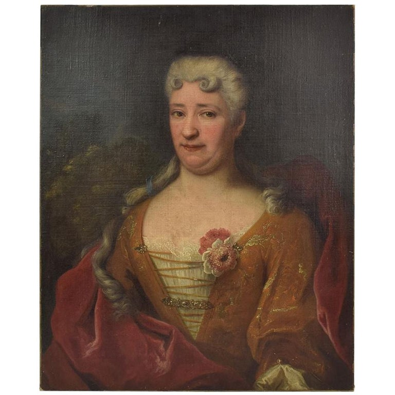 French 18th Century Oil Painting of a Lady For Sale