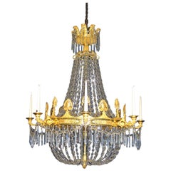 French 18th Century Ormolu and Crystal Chandelier