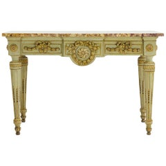 French 18th Century Painted Console with Stunning Marble