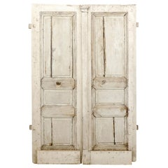 French 18th Century Painted Oak Double Doors with Doric Pilaster and Patina