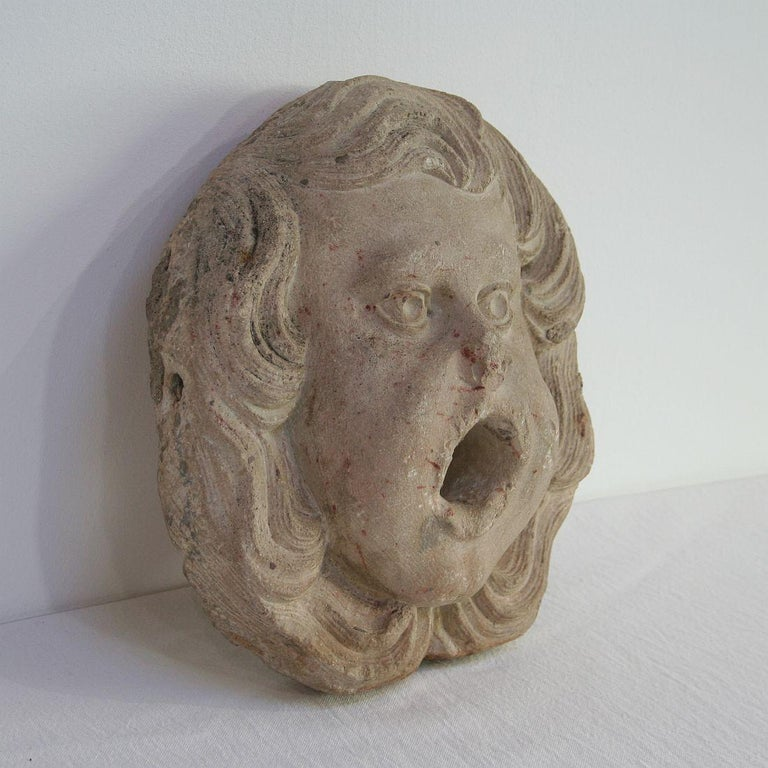 French Provincial French 18th Century Primitive Carved Stone Fountain Head For Sale