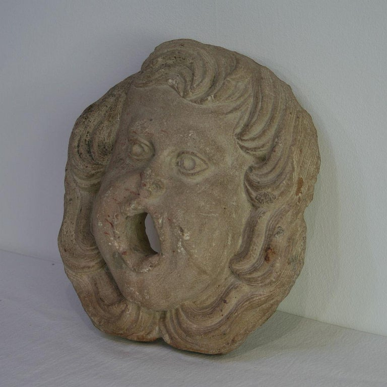 Hand-Carved French 18th Century Primitive Carved Stone Fountain Head For Sale