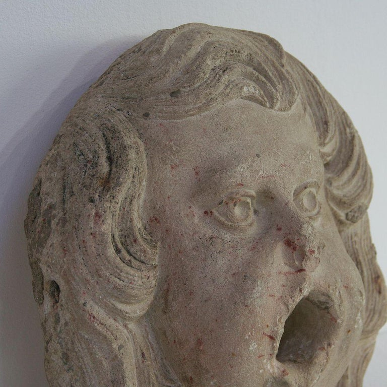 French 18th Century Primitive Carved Stone Fountain Head In Good Condition For Sale In Amsterdam, NL