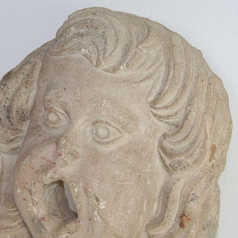 18th Century and Earlier French 18th Century Primitive Carved Stone Fountain Head For Sale