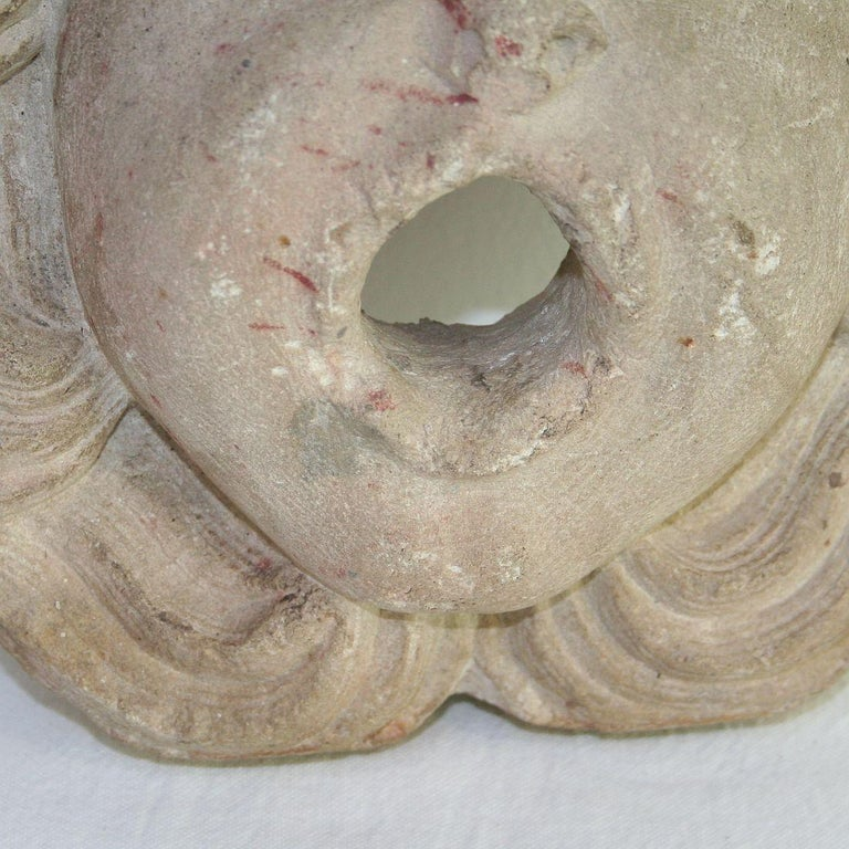 French 18th Century Primitive Carved Stone Fountain Head For Sale 1