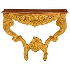 French 18th Century Regence Period Giltwood and Rouge Griotte Marble Console