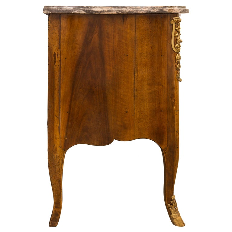 18th Century and Earlier French 18th Century Régence Period Walnut, Fruitwood, Ormolu, and Marble Commode For Sale