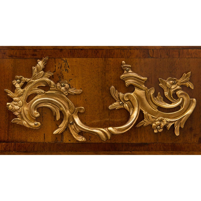 French 18th Century Régence Period Walnut, Fruitwood, Ormolu, and Marble Commode For Sale 1