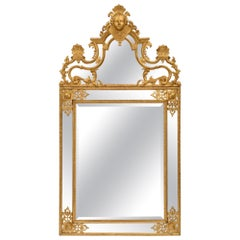 French 18th Century Régence Style Giltwood Double Framed Mirror