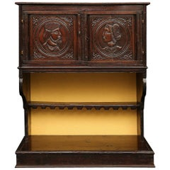 French 18th Century Renaissance Walnut Two-Door Cabinet Vaisselier from Normandy