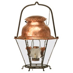 French 18th Century Style Copper Lantern with Hand Blown Glass Panes