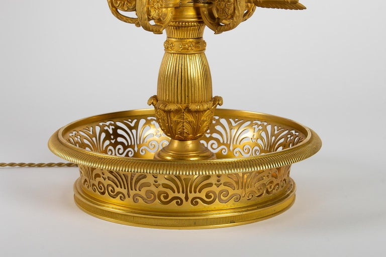 French Empire Style Gilt-Bronze and Tole Five Lights Table Bouillotte Lamp For Sale 9