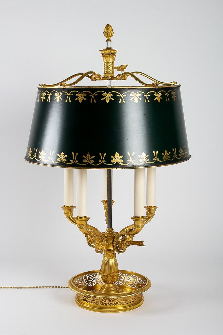 19th Century French Empire Style Gilt-Bronze and Tole Five Lights Table Bouillotte Lamp For Sale