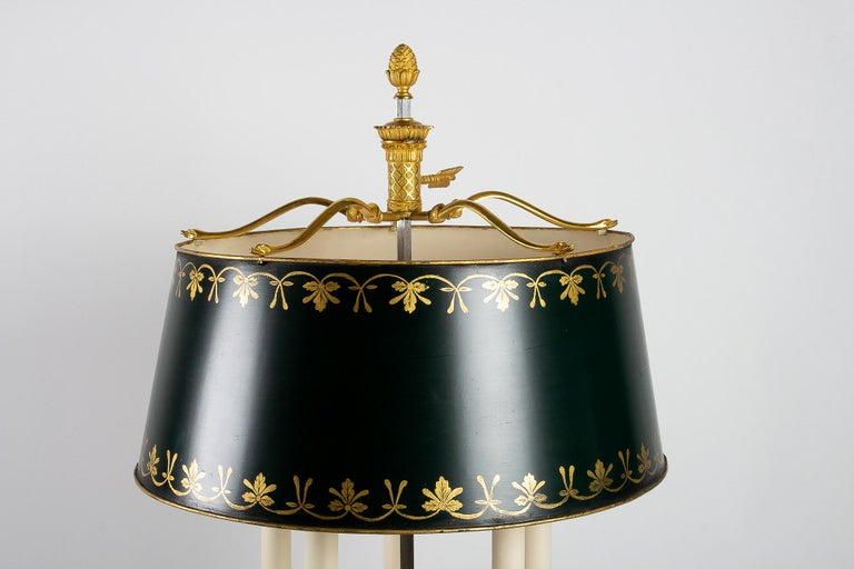 French Empire Style Gilt-Bronze and Tole Five Lights Table Bouillotte Lamp For Sale 2