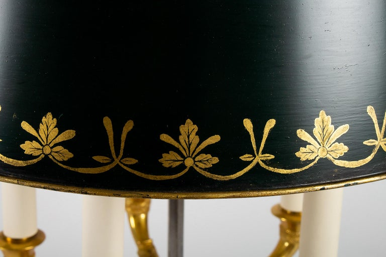 French Empire Style Gilt-Bronze and Tole Five Lights Table Bouillotte Lamp For Sale 4