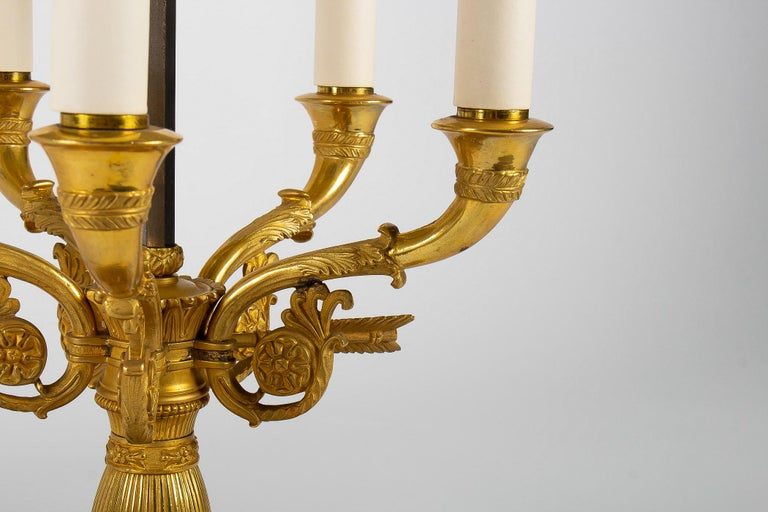 French Empire Style Gilt-Bronze and Tole Five Lights Table Bouillotte Lamp For Sale 5