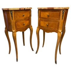 French 18th Century Styled Side Tables Marble Top with Parquetry and Banding