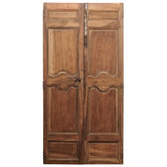 French 18th Century Tall Carved Walnut Double Doors with Molded Panels