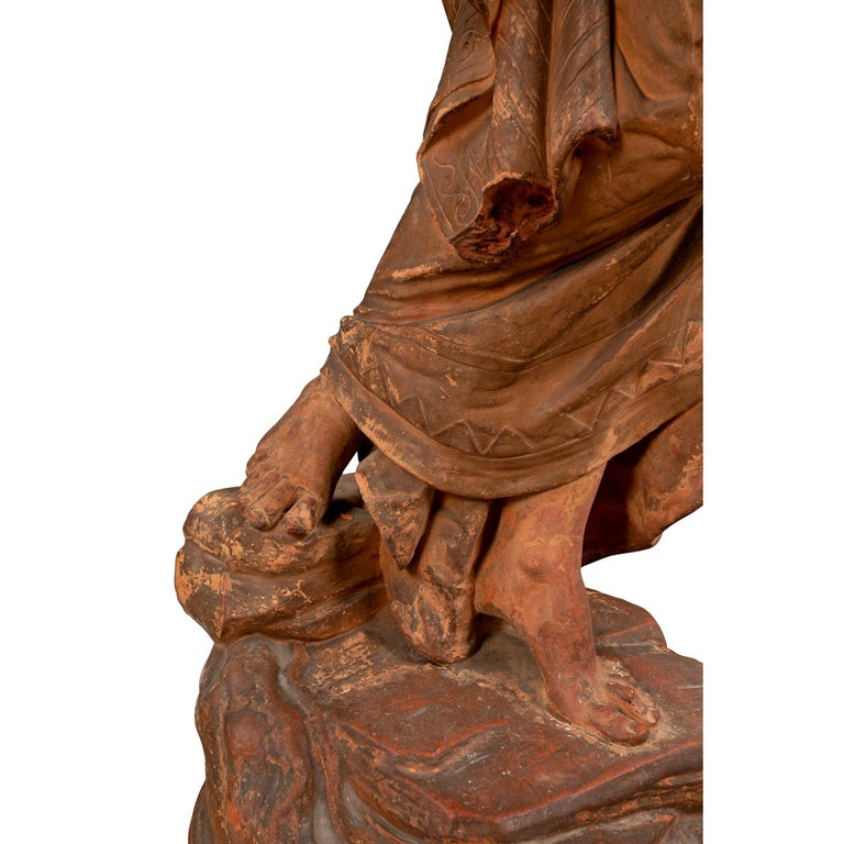 French 18th Century Terracotta Signed Statue of Mother and Child For Sale 3
