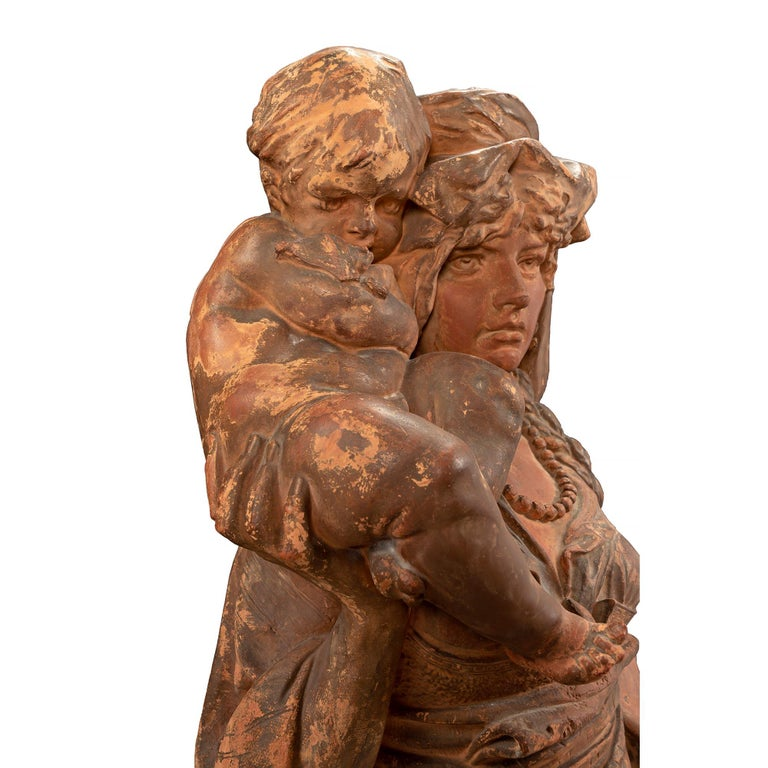 French 18th Century Terracotta Signed Statue of Mother and Child For Sale 5