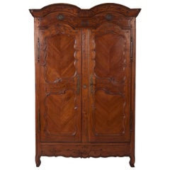French 18th Century Transition Cherrywood Armoire Cupboard, circa 1760