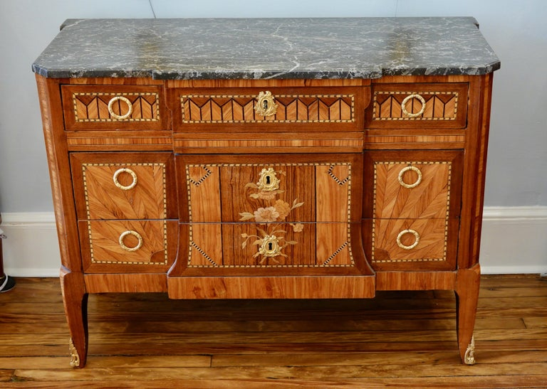 Louis XVI French 18th Century Transitional Marquetry Commode For Sale