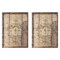 French 18th Century Trumeau Pair of Wall Painted Wood Panels