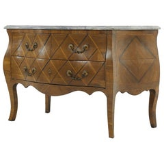French 18th Century Walnut Bombe Commode with Marble Top