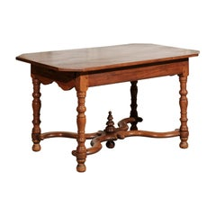 French 18th Century Walnut Side Table with Drawers and X-Form Cross Stretcher