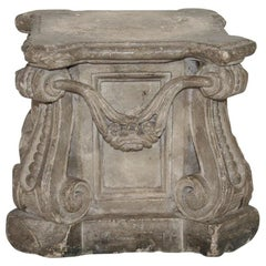 French 18th Century Weathered Stone Pedestal With Garlands