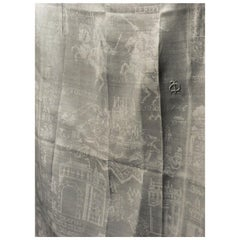 French 18th Linen Damask Tablecloth and Napkins - La Bataille de Fontenoy