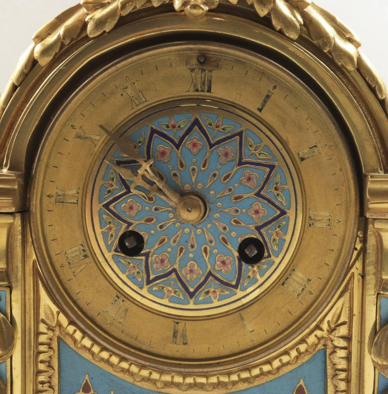 French 19th Century Bronze and Champlevé Enamel Clock Set For Sale 4