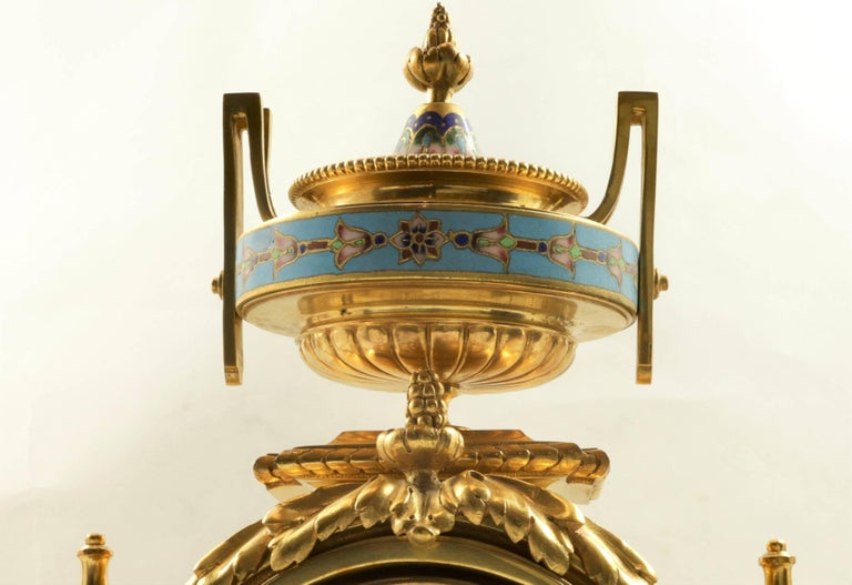 French 19th Century Bronze and Champlevé Enamel Clock Set For Sale 1