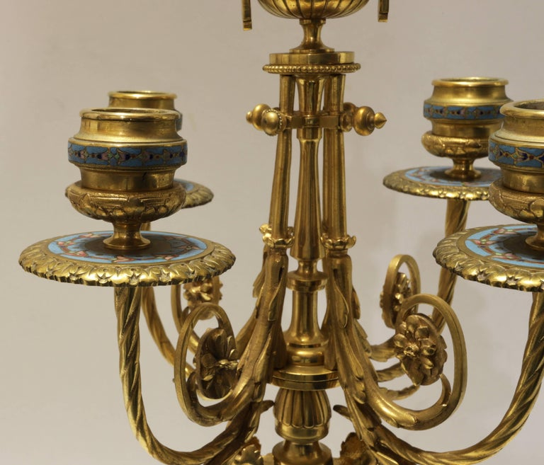 Late 19th Century French 19th Century Bronze and Champlevé Enamel Clock Set For Sale