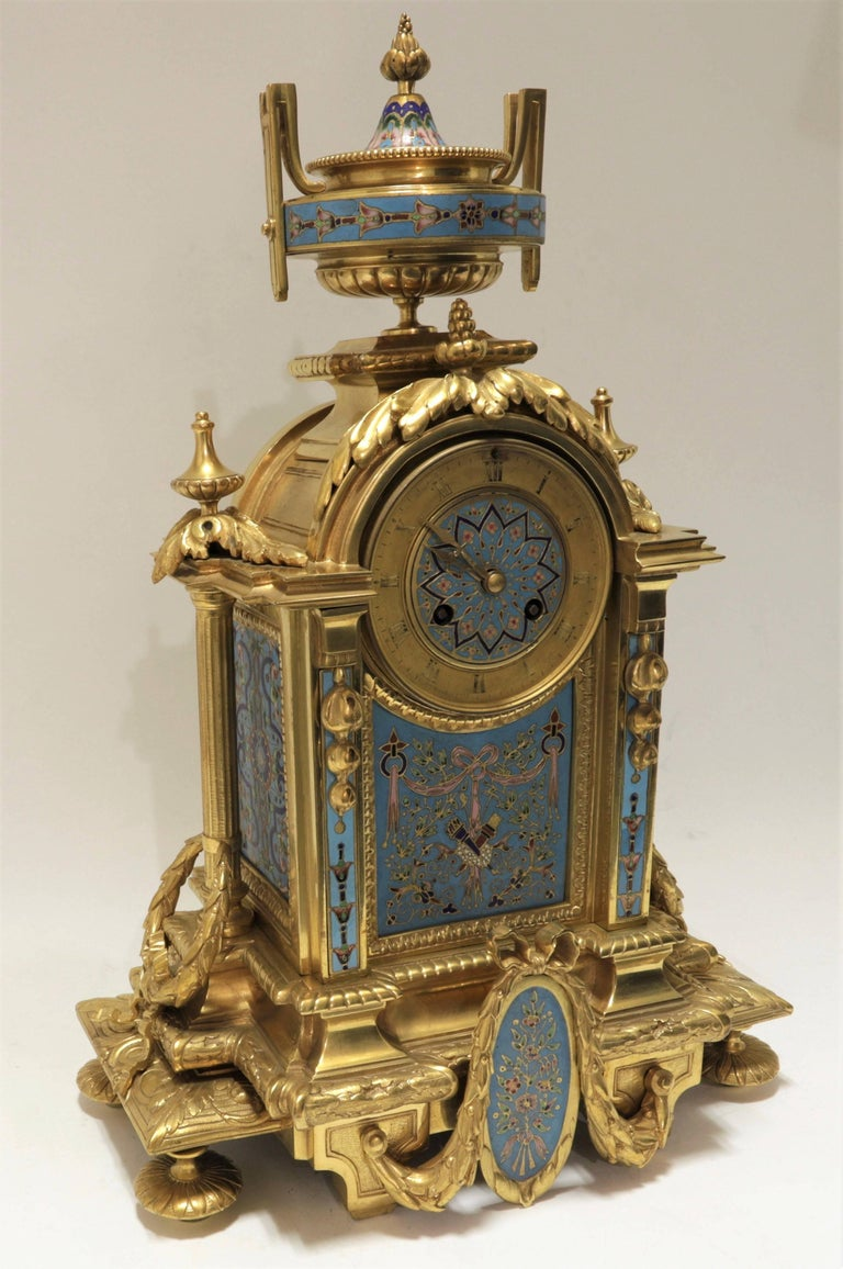 French 19th Century Bronze and Champlevé Enamel Clock Set For Sale 3