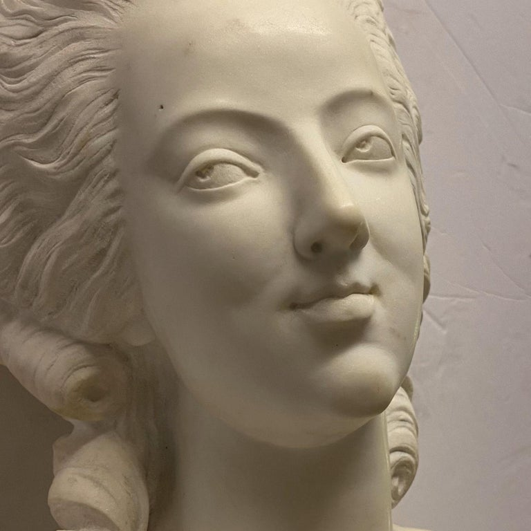 French 19th Century Marie Antoinette Marble Bust For Sale 8