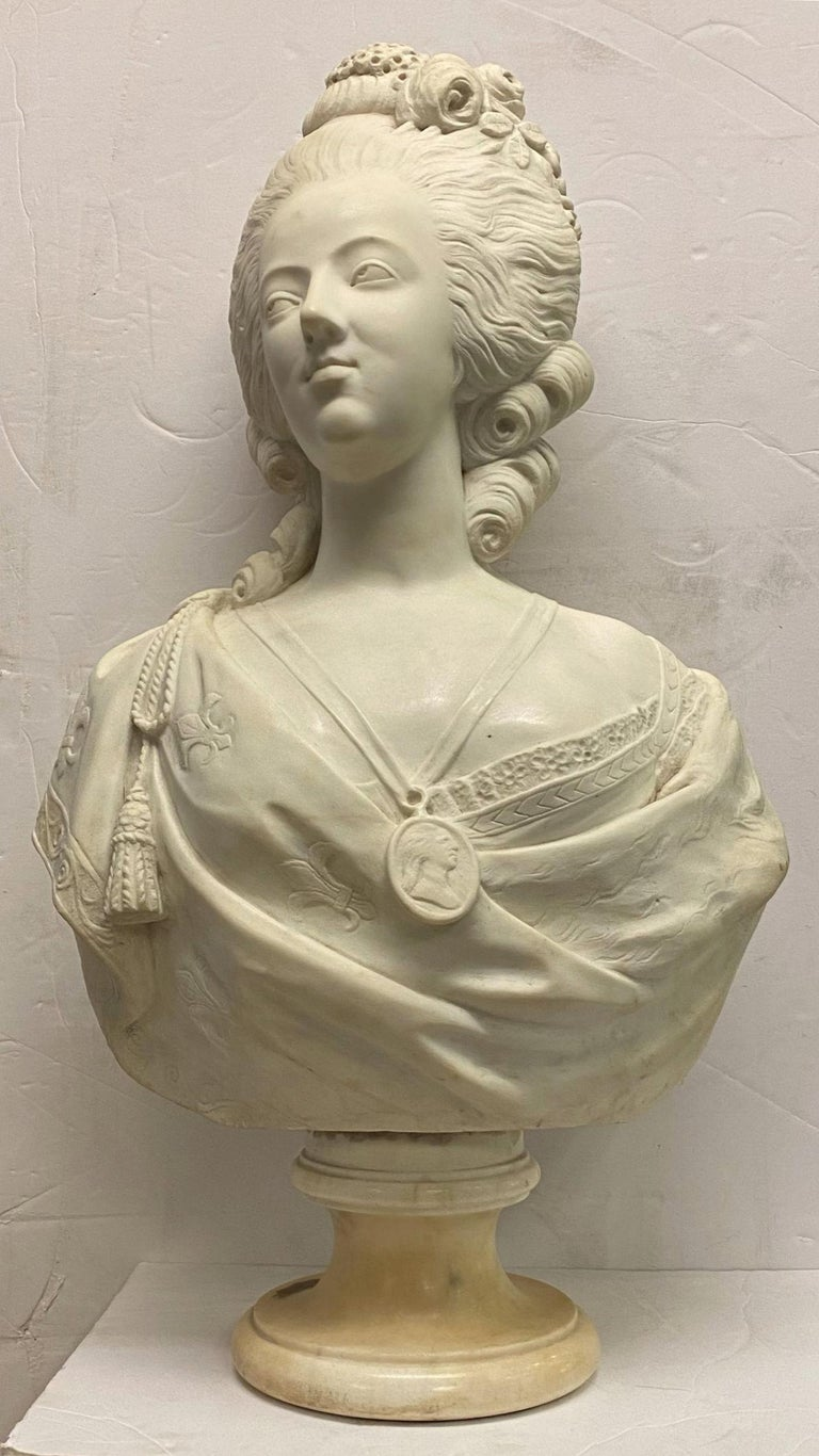 French 19th Century Marie Antoinette Marble Bust For Sale 13